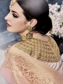 Peach Satin Embroidered A Line Lehengas