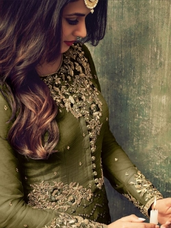 Green Net Embroidered, Zari Border Straight Pant Suits