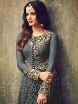 Grey Net Embroidered, Zari Border Straight Pant Suits