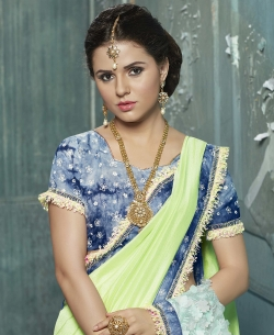 Light Green Chiffon Embroidery, Silk Work On Net Lace Border Work. Designer Sarees