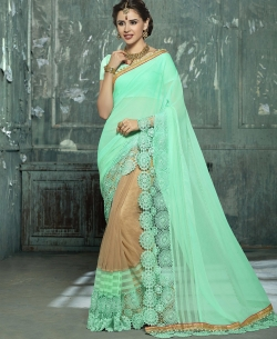 Double Color Georgette Moti,Embroidery,Brocade Lace Border Work. Designer Sarees