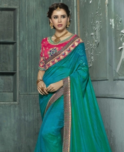 Double Shades Chiffon Mirror Patch, Thread Embroidery, Lace Border Work. Designer Sarees