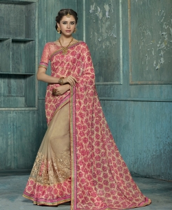 Double Color Chiffon Embroidery,Patch ,Brocade Lace Border Work. Designer Sarees