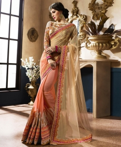 Beige And Peach Net & Georgette Zari, Thread Embroidered, Sequins, Stone Work, Lace Border Half And Half Sarees
