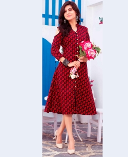 Red Cotton Ethnic Printed A Line Kurtis