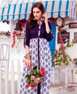 Blue Cotton Ethnic Printed A Line Kurtis