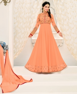 Light Orange Georgette Printed Salwar Suits