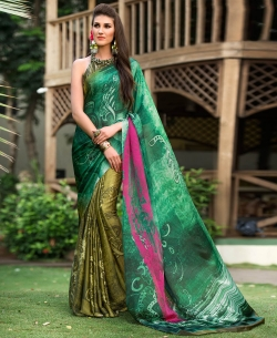 Green Satin Georgette Digital Printed Half And Half Sarees