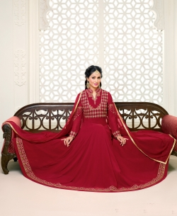 Maroon Georgette Printed Salwar Suits
