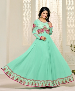 Sky Blue Georgette Printed Salwar Suits