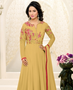 Beige Georgette Printed Salwar Suits