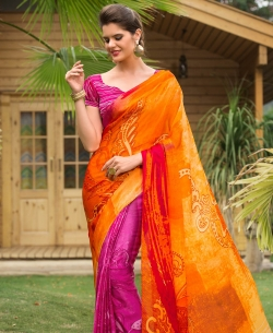 Orange And Pink Satin Georgette Digital Printed Half And Half Sarees