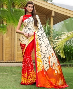 Cream And Red Satin Georgette Digital Printed Half And Half Sarees