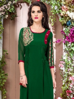 Green Fox Georgette Embellished A Line Kurtis