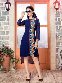 Blue Fox Georgette Printed A Line Kurtis
