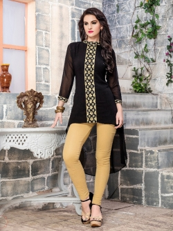 Black Fox Georgette Printed A Line Kurtis