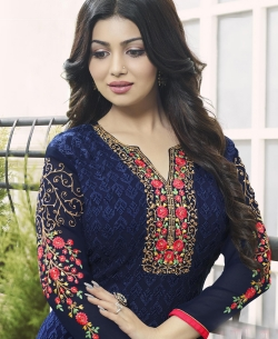 Navy Blue Georgette Embroidery Work Salwar Suits