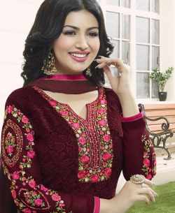 Maroon Georgette Embroidery Work Salwar Suits