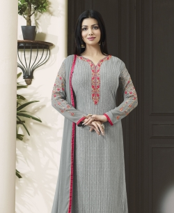 Grey Blue Georgette Embroidery Work Salwar Suits
