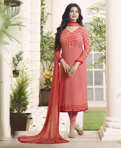 Light Pink Georgette Embroidery Work Salwar Suits