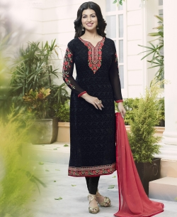 Black Georgette Embroidery Work Salwar Suits