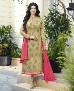 Light Pista Green Georgette Embroidery Work Salwar Suits