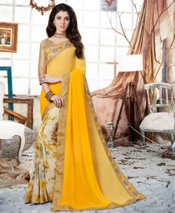 Shaded Yellow Georgette Floral Print And Lace Work Half And Half Sarees