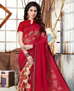 Red Georgette Floral Print And Embroidered Half And Half Sarees