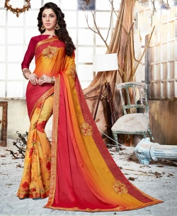 Shaded Orange Padding Rangoli And Georgette Floral Print And Patch Work Half And Half Sarees