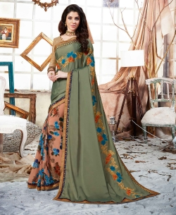 Dusty Green Rangoli And Georgette Block Print And Lace Work Half And Half Sarees