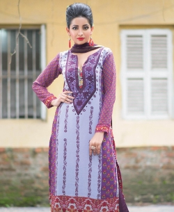Purple Georgette Printed Palazzo Suits
