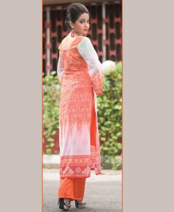 Off White And Orange Georgette Printed Palazzo Suits