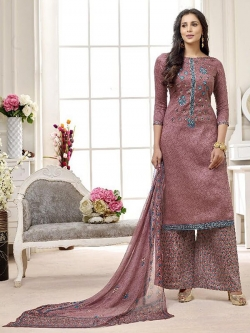 Brown Cotton Printed Palazzo Suits