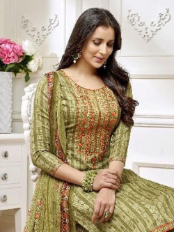 Green Cotton Printed Palazzo Suits