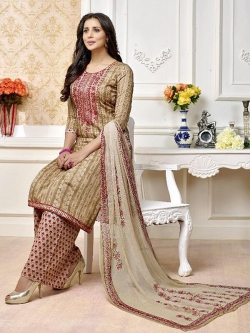 Beige Cotton Printed Palazzo Suits