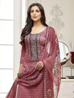 Pink Cotton Printed Palazzo Suits