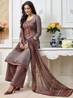 Grey Cotton Printed Palazzo Suits