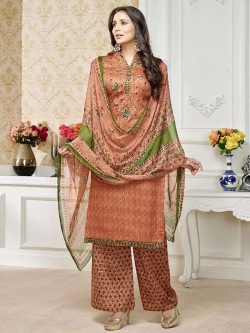 Orange Cotton Printed Palazzo Suits