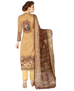 Beige Cotton Lawn Printed Straight Pant Suits