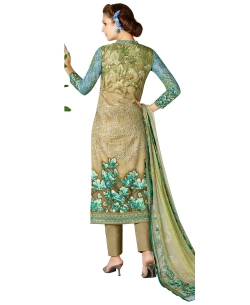 Beige And Blue Cotton Lawn Printed Straight Pant Suits