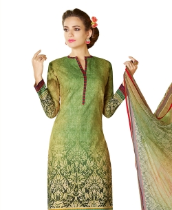 Green Cotton Lawn Printed Straight Pant Suits