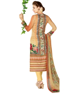 Orange Cotton Lawn Printed Straight Pant Suits
