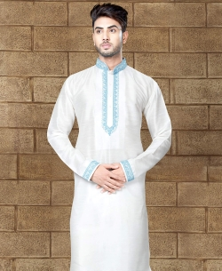 Off White Art Dupion Embroidery Kurta Pajama