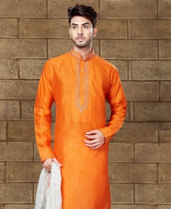 Orange Art Dupion Embroidery Kurta Pajama
