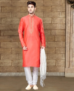 Peach Art Dupion Embroidery Kurta Pajama