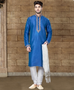 Blue Art Dupion Embroidery Kurta Pajama