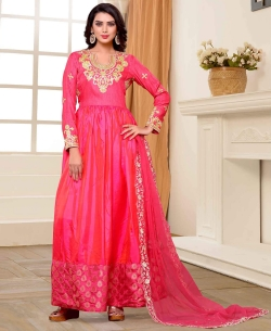 Pink Two Tone Silk Lace Work Gowns