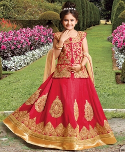 Red Silk Heavy Embroidery Girls A Line Lehengas