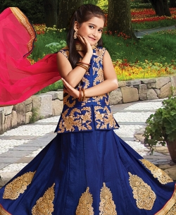 Navy Blue Silk Heavy Embroidery Girls A Line Lehengas