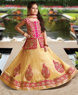 Beige Silk Heavy Embroidery Girls A Line Lehengas